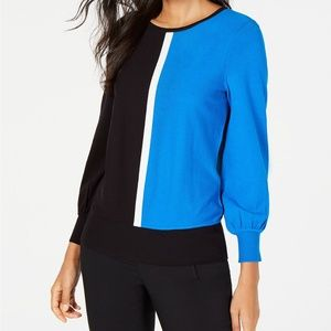 New Alfani Colorblock Pullover Crewneck Sweater